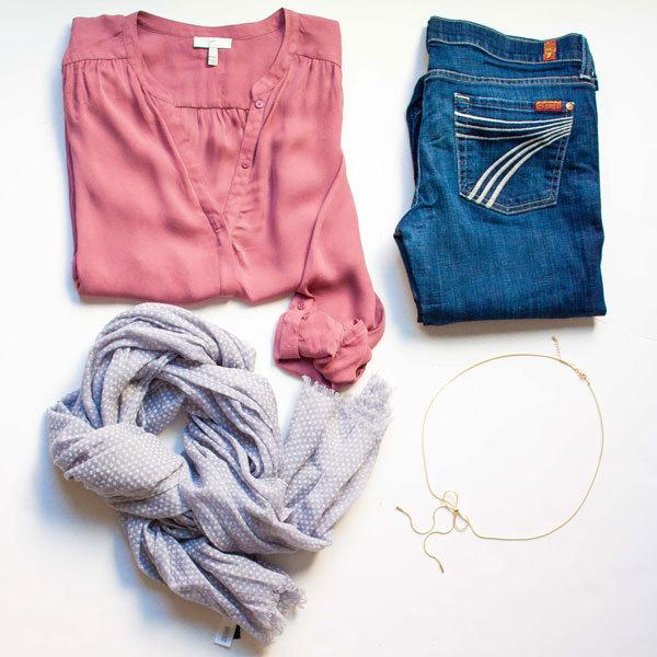 Pink silk blouse | grey polka dot scarf | denim jeans | bow tassel necklace | www.shoppingmycloset.com          @joieclothing #joieclothing @7forallmankind #7fam @gap #gap @meaghancturner (purple peridot) #purpleperidot