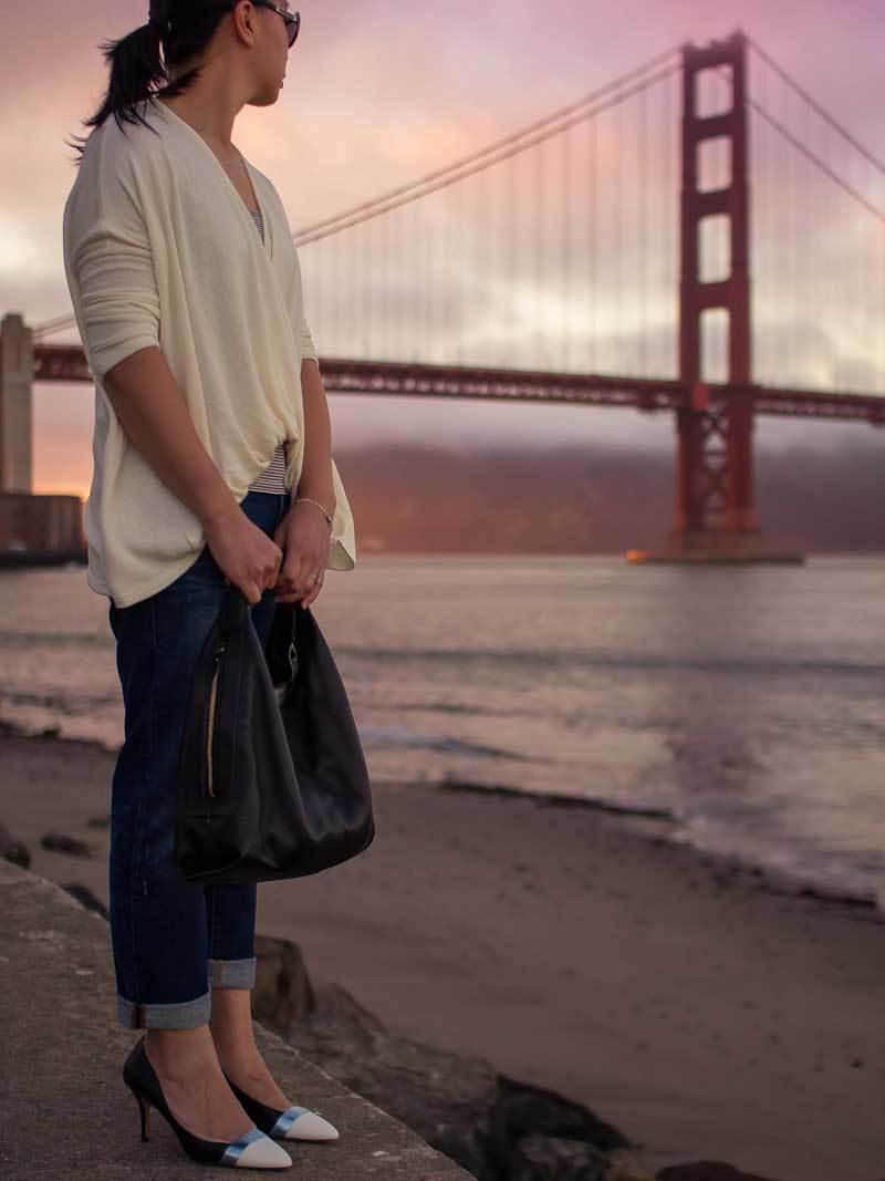 Cream wrap sweater | striped tank top | boyfriend jeans | colorblock heels | hobo purse | www.shoppingmycloset.com           @mickeyandjenny #mickeyandjenny @gap #gap @jcrew #jcrew @katespade @katespade @solesociety #solesociety