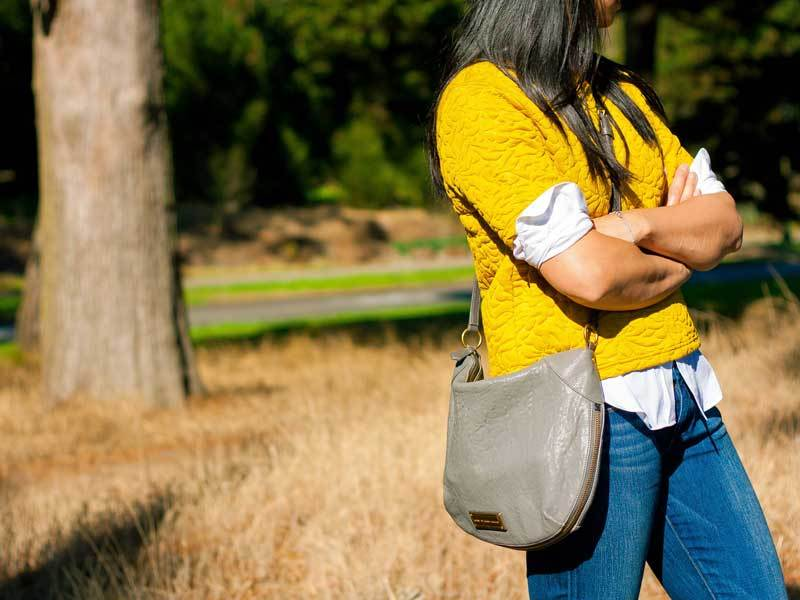 Yellow textured sweater | white button down shirt | skinny ankle jeans | ballet flats | crossbody purse | www.shoppingmycloset.com         @hm #hm @target #target @paigedenim #paigedenim @marcjacobs #marcjacobs @jcrew #jcrew