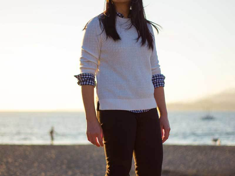 White waffle sweater | blue gingham button down shirt | black denim jeans | colorblock heels | www.shoppingmycloset.com