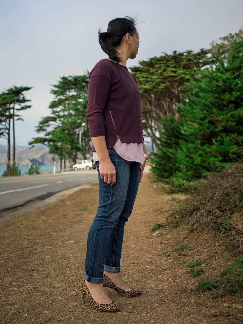 Burgundy side zip sweater | silk shirt | skinny ankle jeans | leopard print heels | gold bangles | www.shoppingmycloset.com         @madewell #madewell @jcrew #jcrew @paigedenim #paigedenim @bananarepublic #bananarepublic @target #target