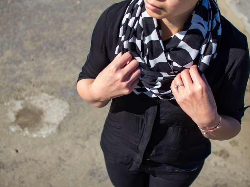 Black & white scarf | black silk shirt | black leather-detailed skinny jeans | pink ankle heels | bow bracelet | www.shoppingmycloset.com         @katespade #katespade @theorypin #theory @loft #loft @marcfisher #marcfishe