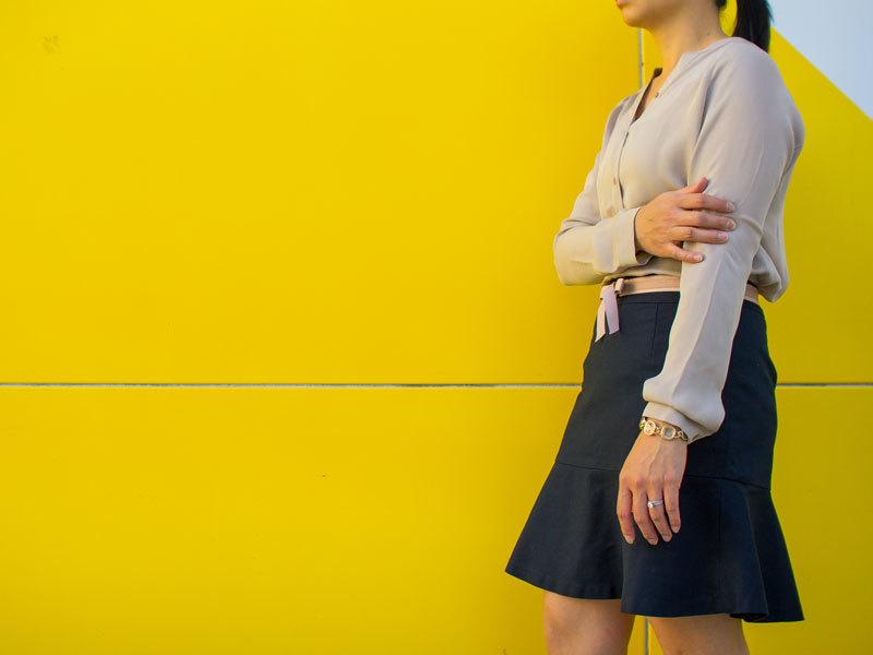 Neutral silk shirt | bow belt | navy fluted skirt | nude kitten heels | link chain bracelet | www.shoppingmycloset.com     @vincesays_ #vince @loft #loft @bananarepublic #bananarepublic @colehaan #colehaan