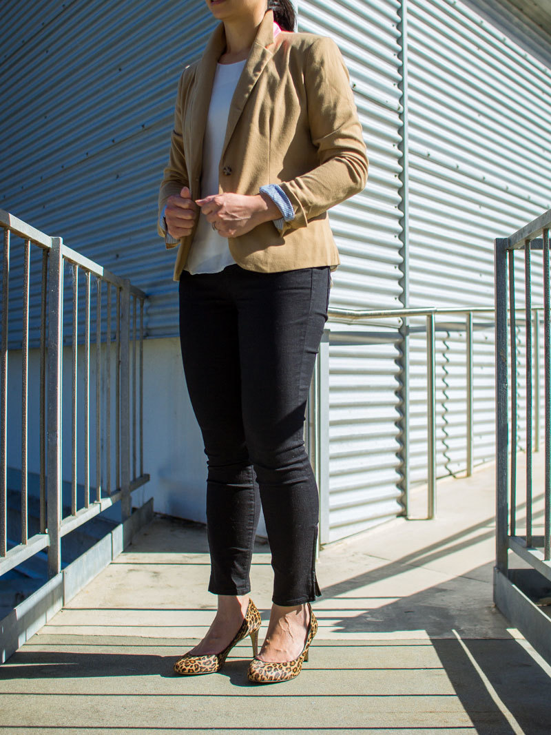 Camel blazer | silk blouse | black zipper ankle jeans | leopard heels | www.shoppingmycloset.com            @target #target @harlowe-graham #harloweandgraham @loft #loft @bananarepublic #bananarepublic