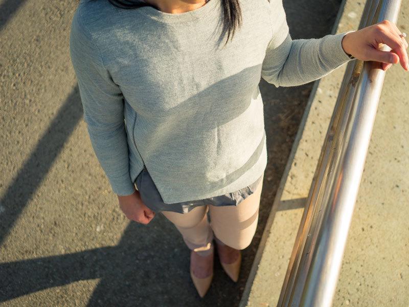 Grey zipper sweater | grey silk blouse | nude corduroy pants | nude kitten heels | www.shoppingmycloset.com       @jcrew #jcrew @joieclothing #joieclothing @anntaylor #anntaylor @colehaan #colehaan