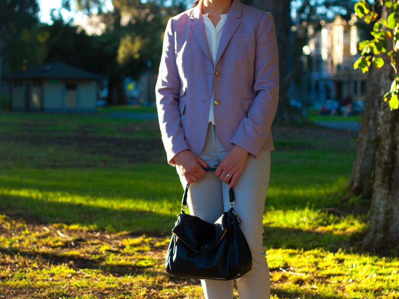Purple wool blazer | Cream silk shirt | Grey ankle pants | Grey ballet flats | Black handbag | www.shoppingmycloset.com @jcrew #jcrew @anntaylor #anntaylor @katespade #katespade
