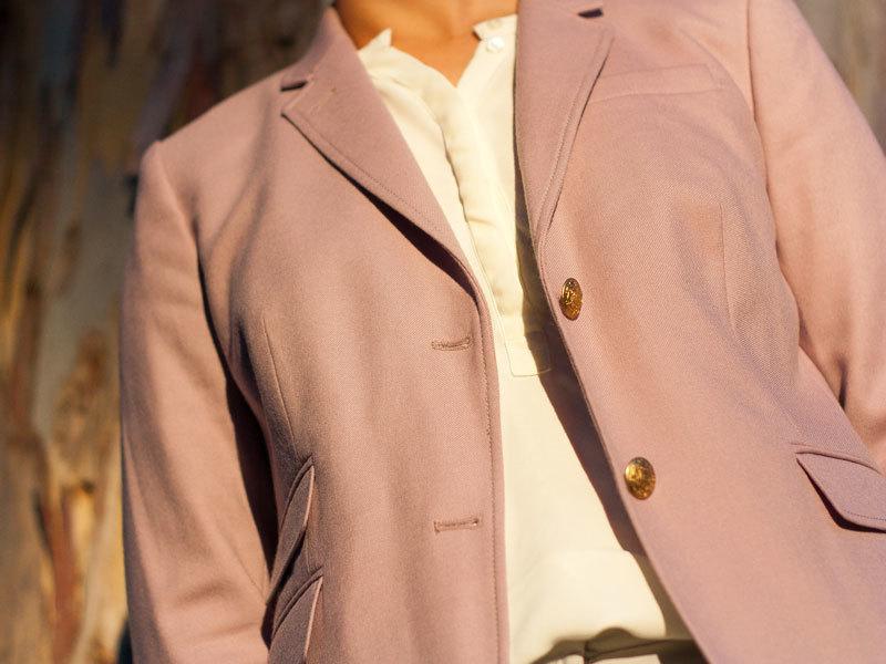 Purple wool blazer | Cream silk shirt | Grey ankle pants | Grey ballet flats | Black handbag | www.shoppingmycloset.com     @jcrew #jcrew @anntaylor #anntaylor @katespade #katespade