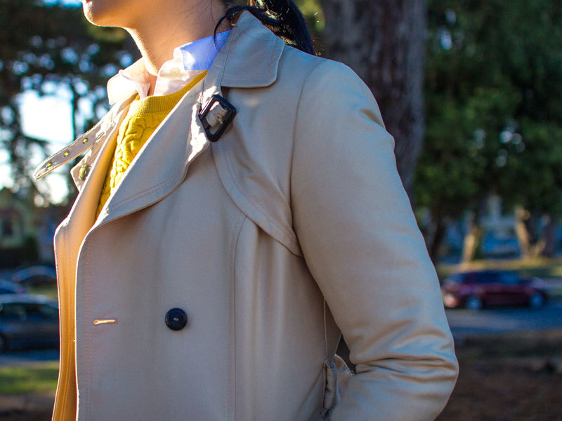 Trench coat | mustard yellow jacquard sweater | white button down shirt | black ankle jeans | black wedges | quilted purse | www.shoppingmycloset.com     @hm #hm @loft #loft @jcrew #jcrew @colehaan #colehaan @katespade #katespade