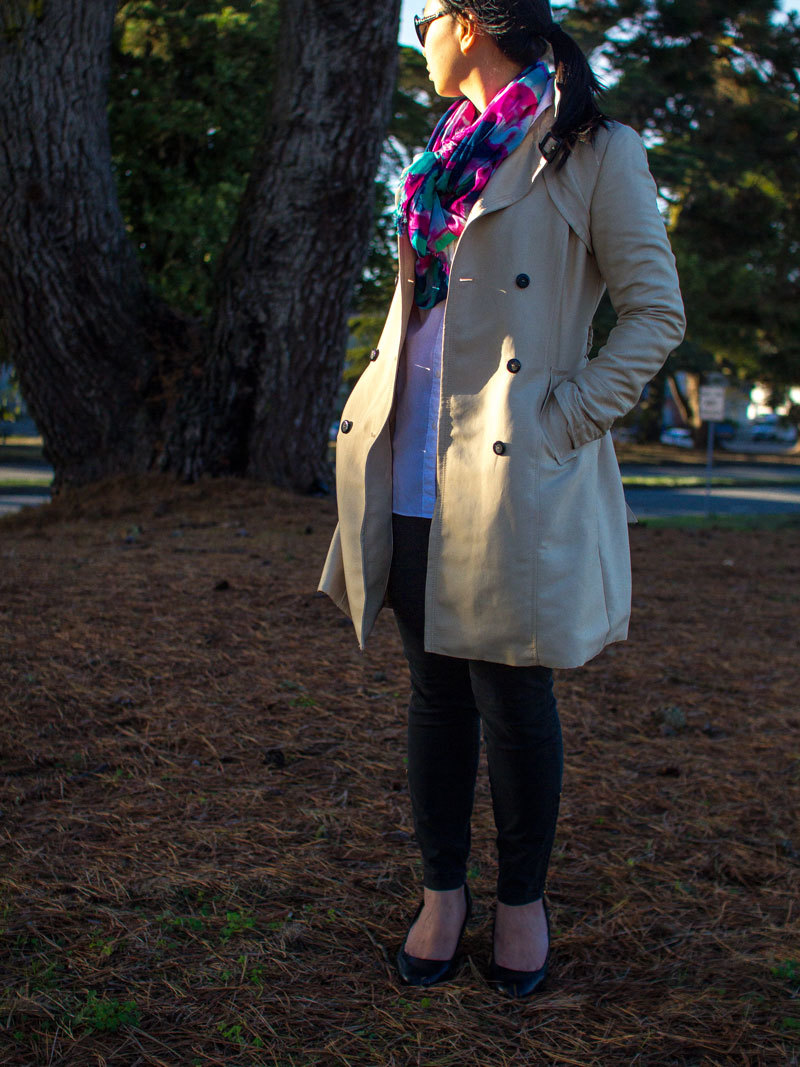 Trench coat | white button down shirt | black ankle jeans | multicolored scarf | www.shoppingmycloset.com @hm #hm @loft #loft @jcrew #jcrew @katespadeny #katespade @colehaan #colehaan