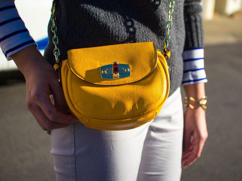 Grey turtleneck sweater | striped shirt | grey ankle pants | grey bow flats | yellow purse | gold bracelet | www.shoppingmycloset.com @oldnavy #oldnavy @gap #gap @anntaylor #anntaylor @katespadeny #katespade @target #target @expressrunway #express