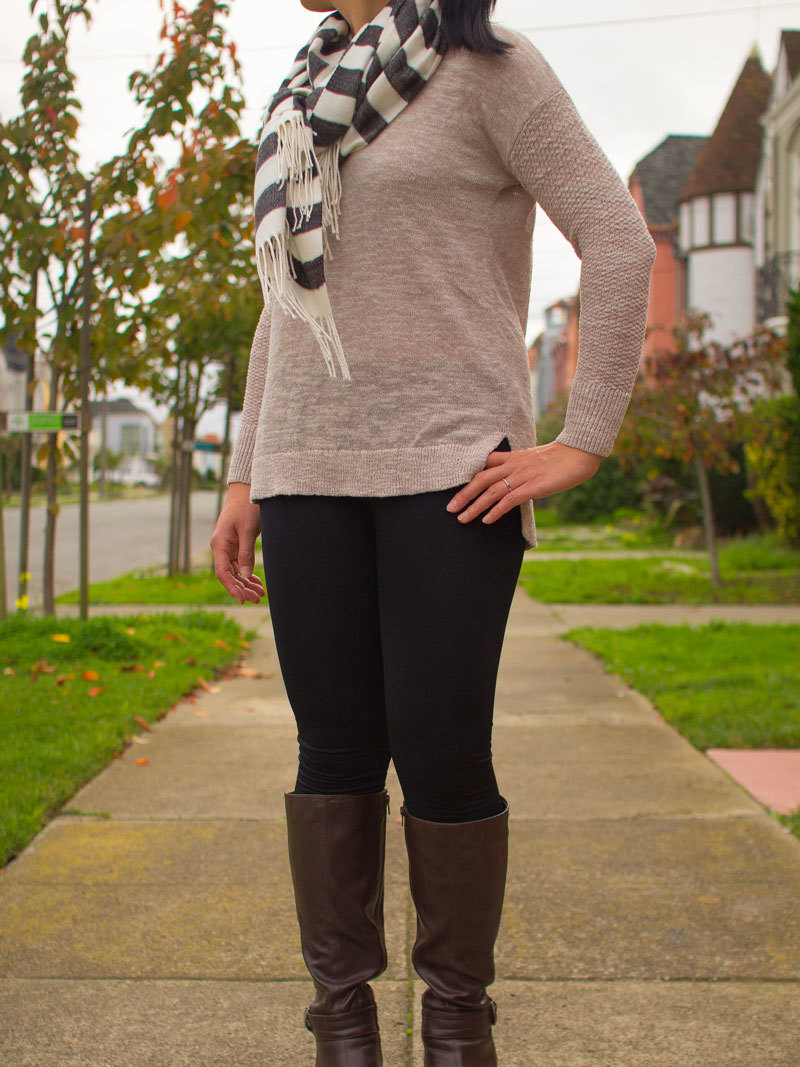 Camel-colored sweater | black & white striped scarf | black leggings | brown boots | www.shoppingmycloset.com     @nordstrom #nordstrom @gap #gap @target #target @aerosoles #aerosoles