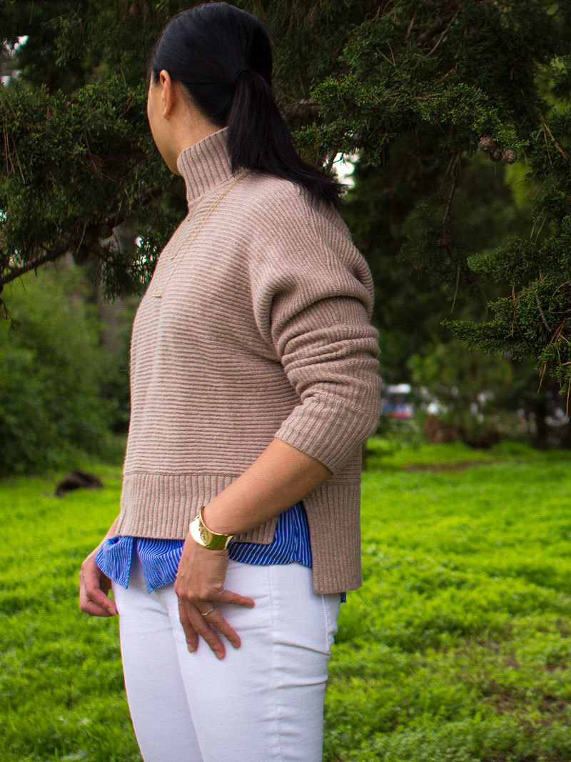 Camel mock neck sweater | striped button down shirt | white straight jeans | leopard heels | gold cuff bracelet | 3-tiered bar necklace | www.shoppingmycloset.com      @loft #loft @jcrew #jcrew @bananarepublic #bananarepublic @expressrunway #express @ilycouture #ilycouture