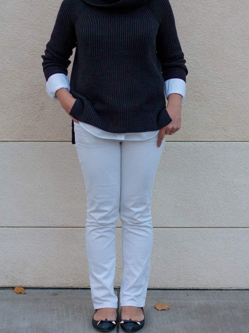 Black ribbed turtleneck tunic sweater | white long button down shirt | white jeans | black & gold bow ballet flats | www.shoppingmycloset.com       @nordstrom #nordstrom @loft #loft @jcrew #jcrew #LouiseetCie