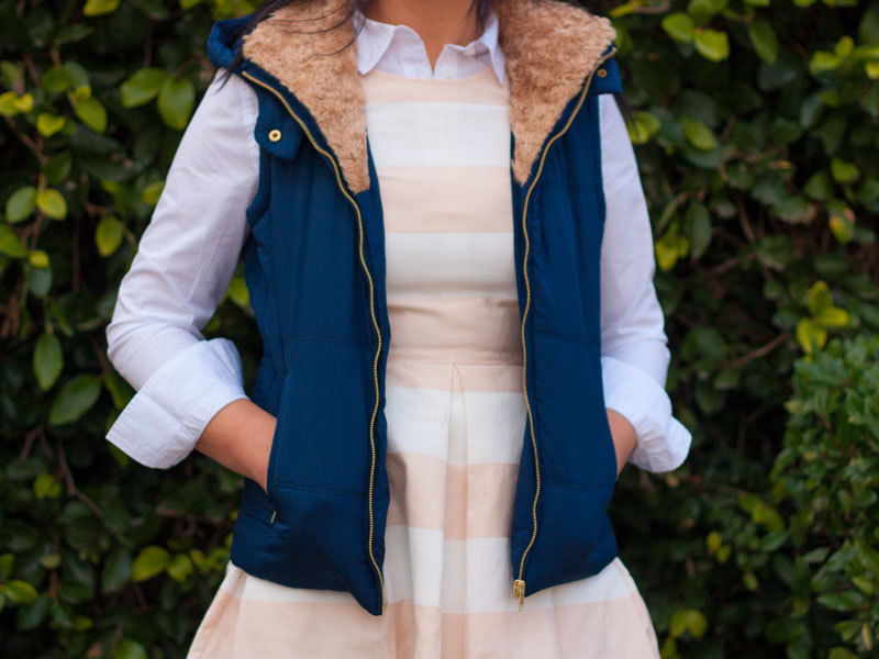 Striped peach dress | white button down shirt | blue puffer vest | black bow ballet flat | www.shoppingmycloset.com     @gap #gap @loft #loft @TheMintJulep #TheMintJulep @nordstrom #nordstrom @target #target
