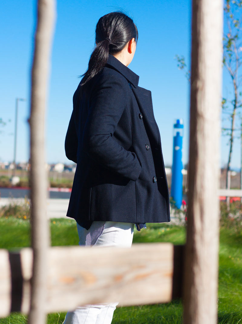 Navy knit side zipper sweater | Long endless button down shirt | Navy peacoat | White denim jeans | Black bow ballet flats | www.shoppingmycloset.com     @jcrew #jcrew @bananarepublic #bananarepublic @vincecamuto #vincecamuto