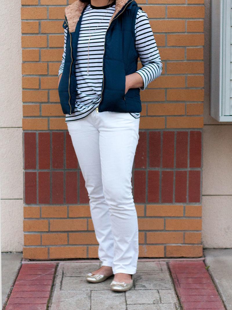 Navy fur puffer vest | striped tee | white jeans | gold bow ballet flat | gold lariat necklace | www.shoppingmycloset.com      @mint-julep-boutique #mintjulepboutique #heidimerrick @jcrew #jcrew @bananarepublic #bananarepublic @ilycouture #ilycouture
