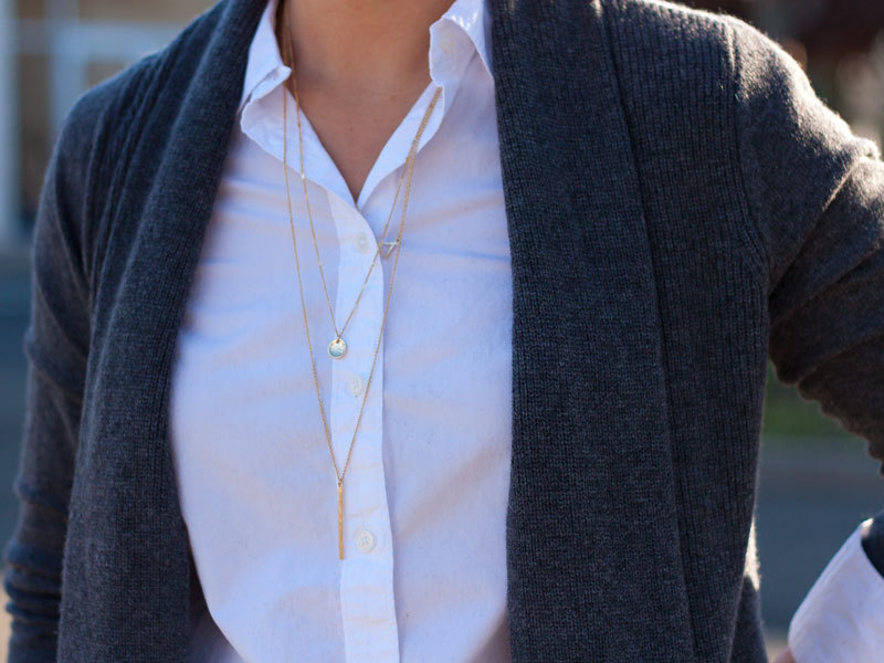 Grey cashmere open cardigan | Long endless button down shirt | Black ankle zipper jeans | Bow ballet flats | 3 tier necklace | www.shoppingmycloset.com     @theorypin #theory @loft #loft @vincecamuto #louiseetcie @ilycouture #ilycouture