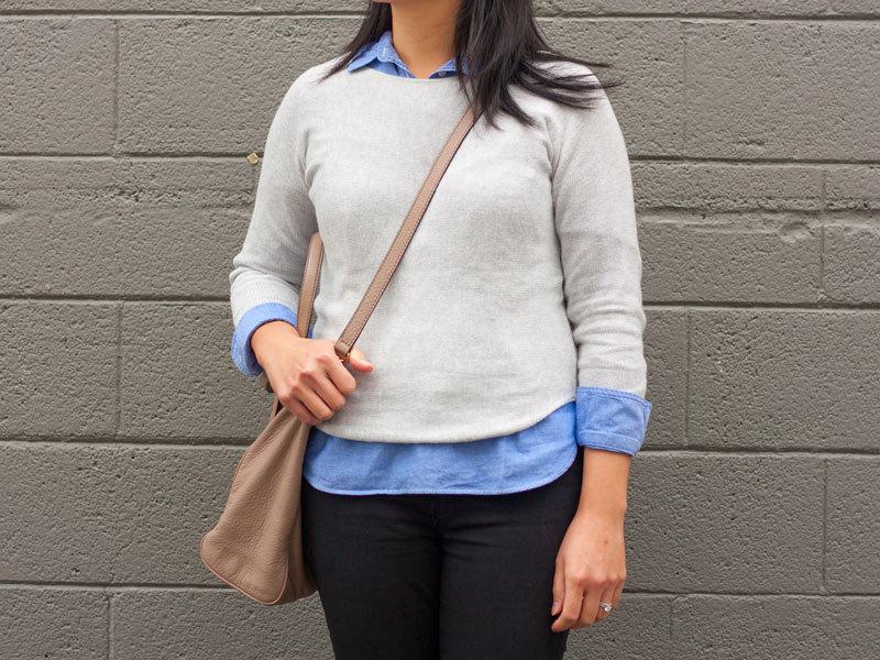 Grey sweater | blue chambray | black ankle zipper jeans | leopard bow ballet flats | beige crossbody purse | www.shoppingmycloset.com     @oldnavy #oldnavy @jcrew #jcrew @loft #loft @vincecamuto #vincecamuto @katespade #katespade
