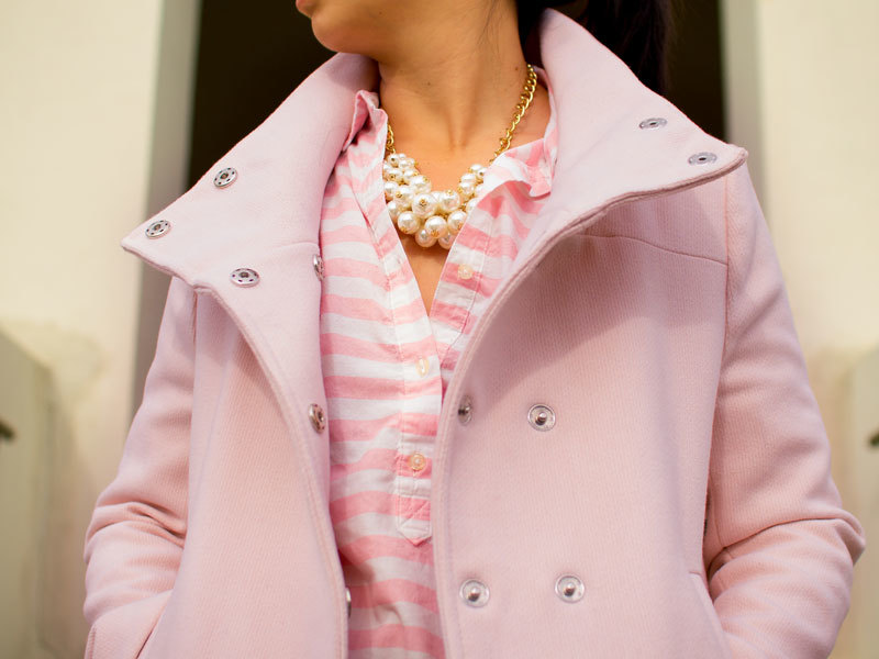 Pink funnel neck peacoat | pink striped button down shirt | pearl statement necklace | black jeans | black kitten heels | www.shoppingmycloset.com     @oldnavy #oldnavy @forever21 #forever21 @jcrew #jcrew @victoriassecret #victoriassecret