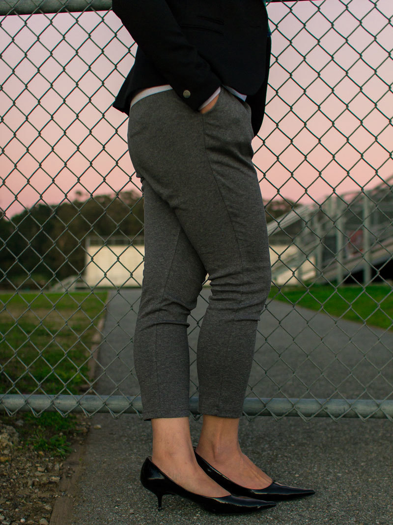 Black blazer | white sweater | floral scarf | grey jogger pants | black kitten heels | www.shoppingmycloset.com     @hm #hm @theory #theory @jcrew #jcrew @piperlime #piperlime