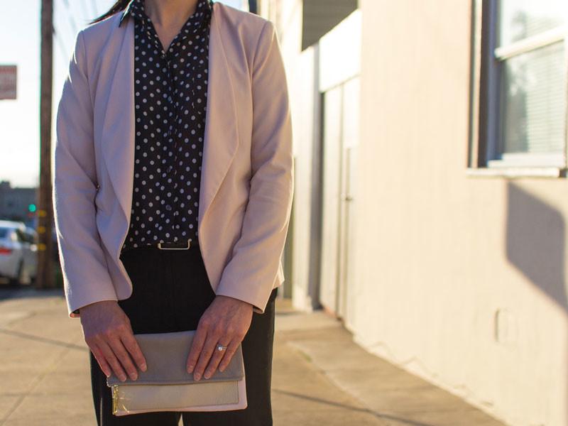 Pink blazer | black polka dot blouse | black trouser | wedge heels | colorblock foldover clutch | www.shoppingmycloset.com       @target #target @jcrew #jcrew @loft #loft @colehaan #colehaan @gap #gap