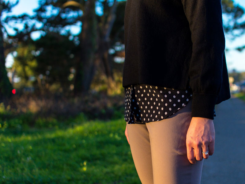 Black open side slit sweater | black and white polka dot blouse | beige ankle pants | red kitten heels | www.shoppingmycloset.com     @jcrew #jcrew @loft #loft @ninewest #ninewest