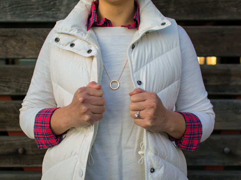 White puffer vest | white lace sweatshirt | red plaid popover | gold circle pendant necklace| straight jeans | gold bow black flats | www.shoppingmycloset.com     @jcrew #jcrew @loft #loft @ctznsofhumanity #citizensofhumanity @vincecamuto #vincecamuto #louiseetcie