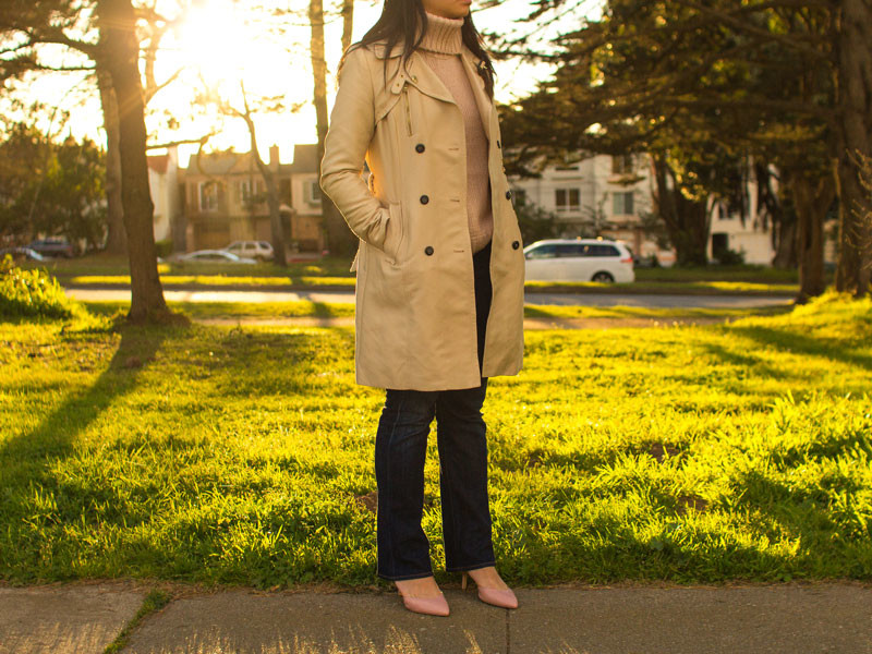 Trench coat | blush pink turtleneck sweater | Straight leg denim | pink heels | www.shoppingmycloset.com     @hm #hm @target #target @ctznsofhumanity #citizensofhumanity @marcfisher #marcfischer