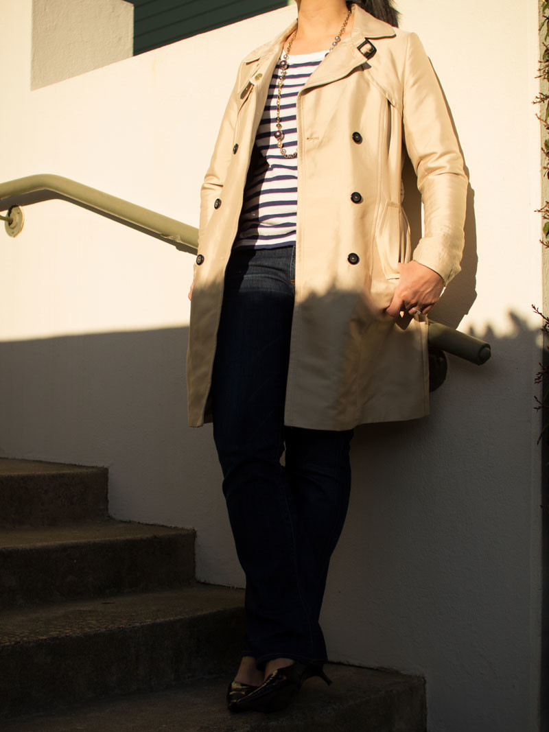 Trench coat | blue striped shirt | slim bootcut jeans | black kitten pointy toe heels  | www.shoppingmycloset.com      @hm #hm @gap #gap @ctznsofhumanity #citizensofhumanity