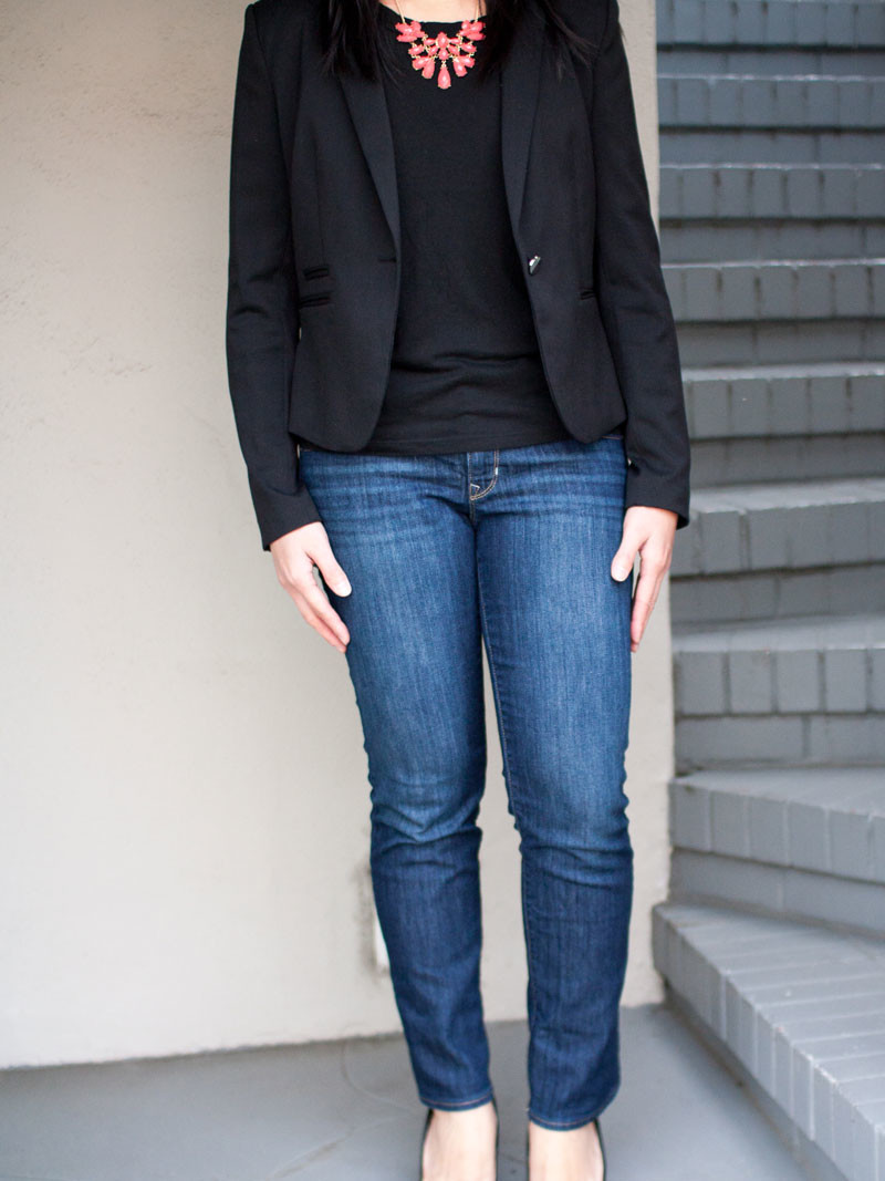 Black blazer | black top | coral statement necklace | ankle jeans | wedge heels | www.shoppingmycloset.com     @HM #hm @gap #gap @forever21 #forever21 @colehaan #colehaan