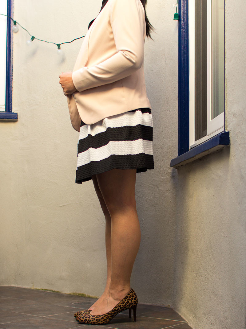 Blush pink blazer | black silk blouse | striped black and white skater skirt | leopard heels | www.shoppingmycloset.com