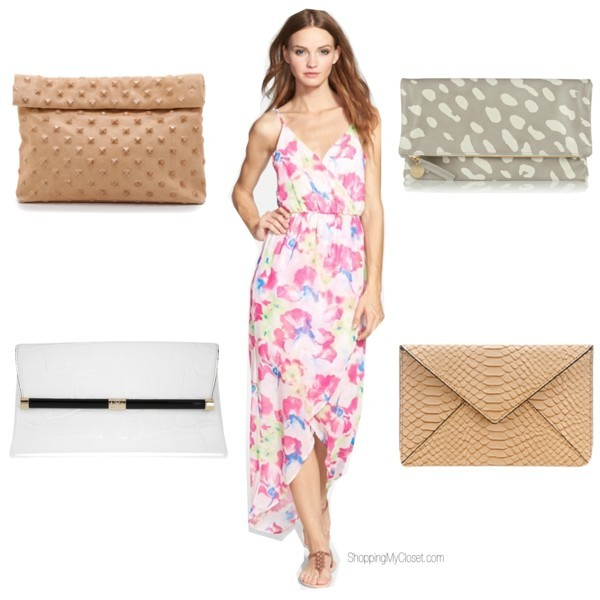 Maxi floral dress | clutch options | www.shoppingmycloset.com