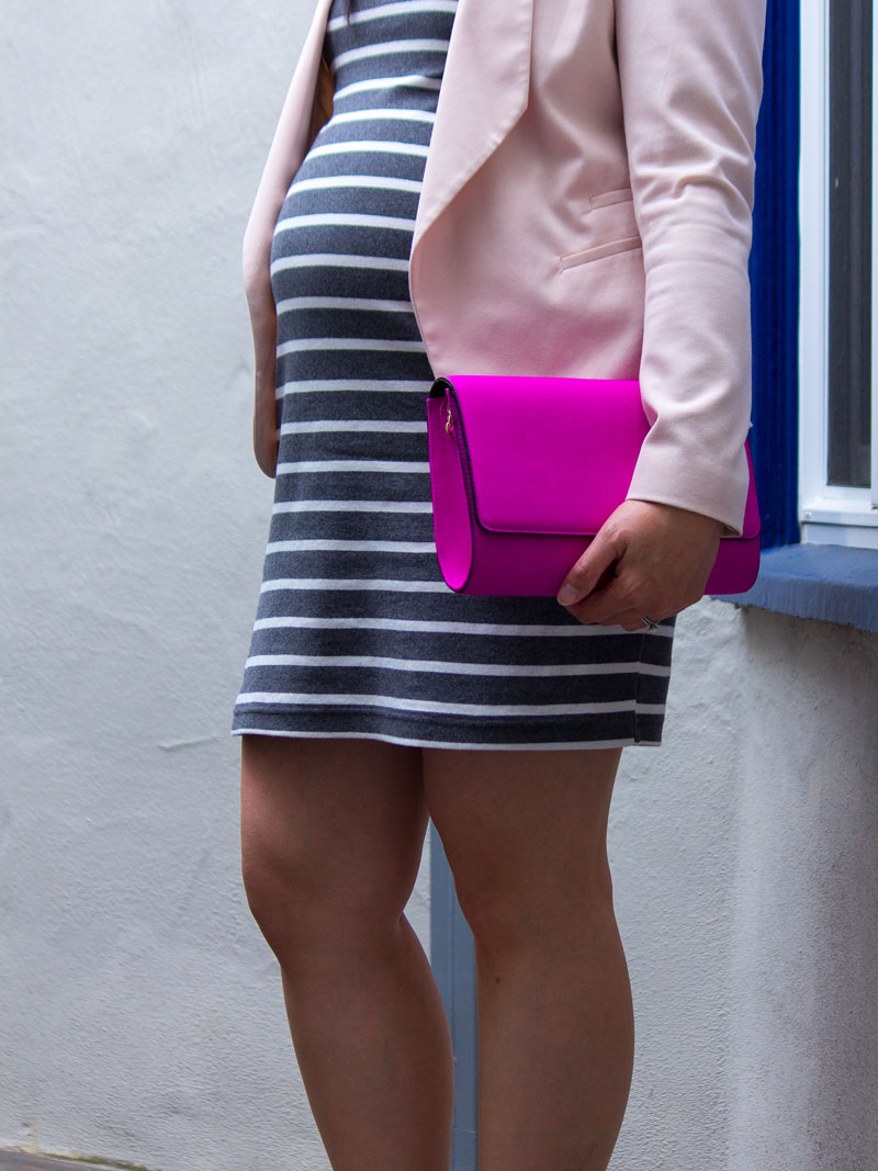 Grey and white striped dress | blush pink blazer | hot pink clutch | grey bow heels | www.shoppingmycloset.com @oldnavy #oldnavy @hm #hm @katespade #katespade