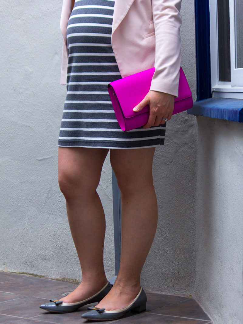 Grey and white striped dress | blush pink blazer | hot pink clutch | grey bow heels | www.shoppingmycloset.com    @oldnavy #oldnavy @hm #hm @katespade #katespade
