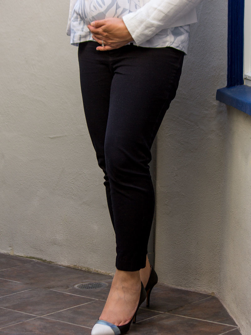 White linen blazer | tropical floral print blouse | black crop pants | colorblock heels | www.shoppingmycloset.com     @loft #loft @gap #gap @oldnavy #oldnavy @solesociety #solesociety