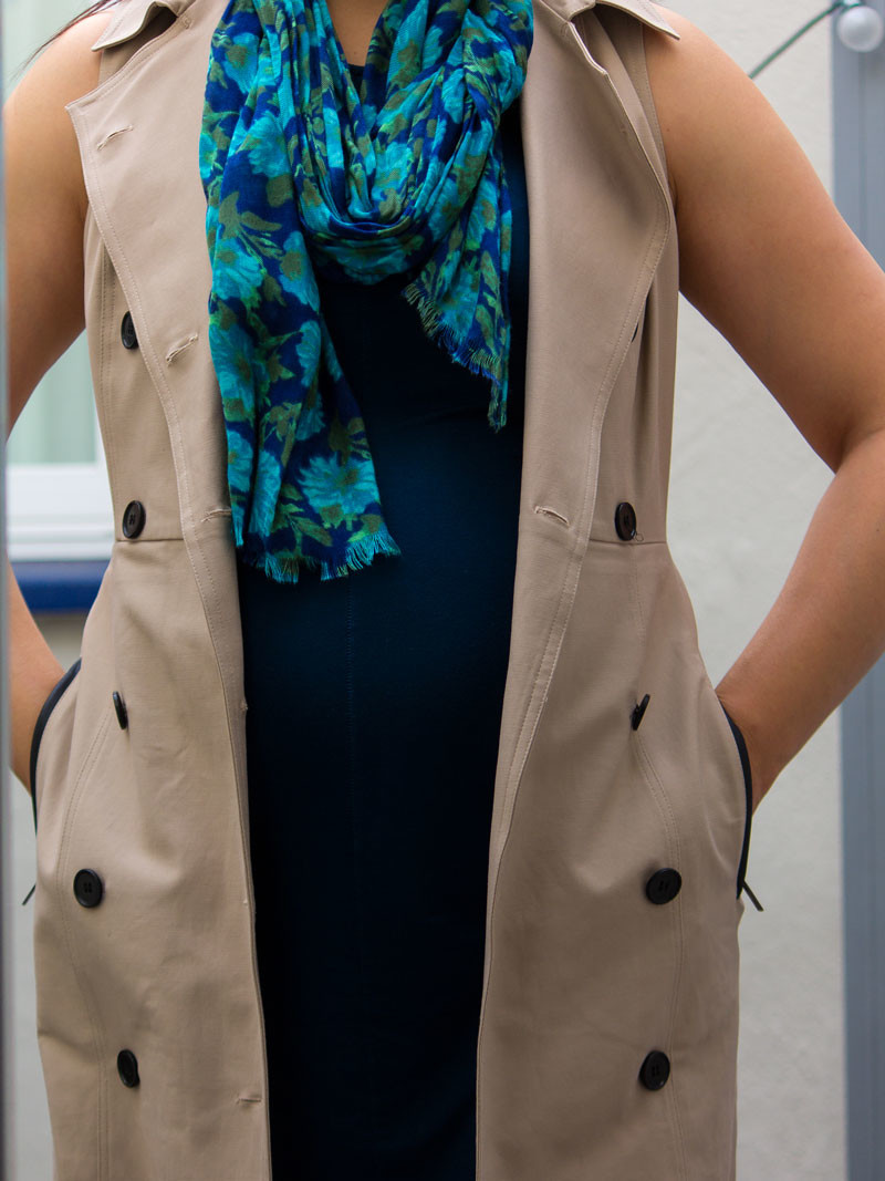 Sleeveless trench coat | floral scarf | turquoise dress | www.shoppingmycloset.com     @jcrew #jcrew @anntaylor #anntaylor @lizlange #lizlange
