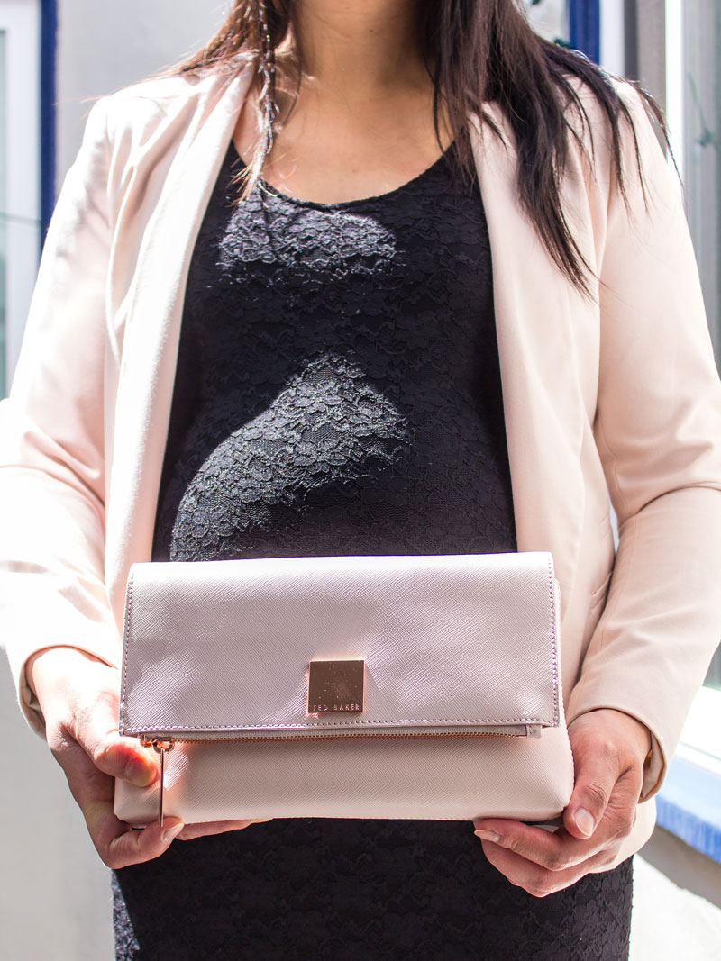 Blush pink blazer | black lace dress | blush pink clutch | www.shoppingmycloset.com      @target #target @hm #hm @tedbaker #tedbaker