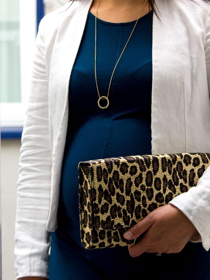 White linen blazer | teal dress | gold circle pendant necklace | leopard clutch | www.shoppingmycloset.com    @loft #loft @target #target @hm #hm