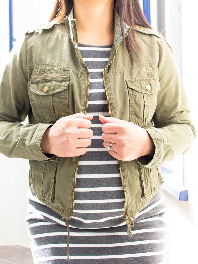 Olive green utility jacket | grey striped maternity dress | leopard clutch | www.shoppingmycloset.com    @hm #hm @oldnavy #oldnavy @target #target
