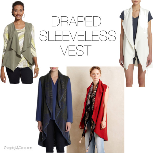 Draped sleeveless vest | www.shoppingmycloset.com