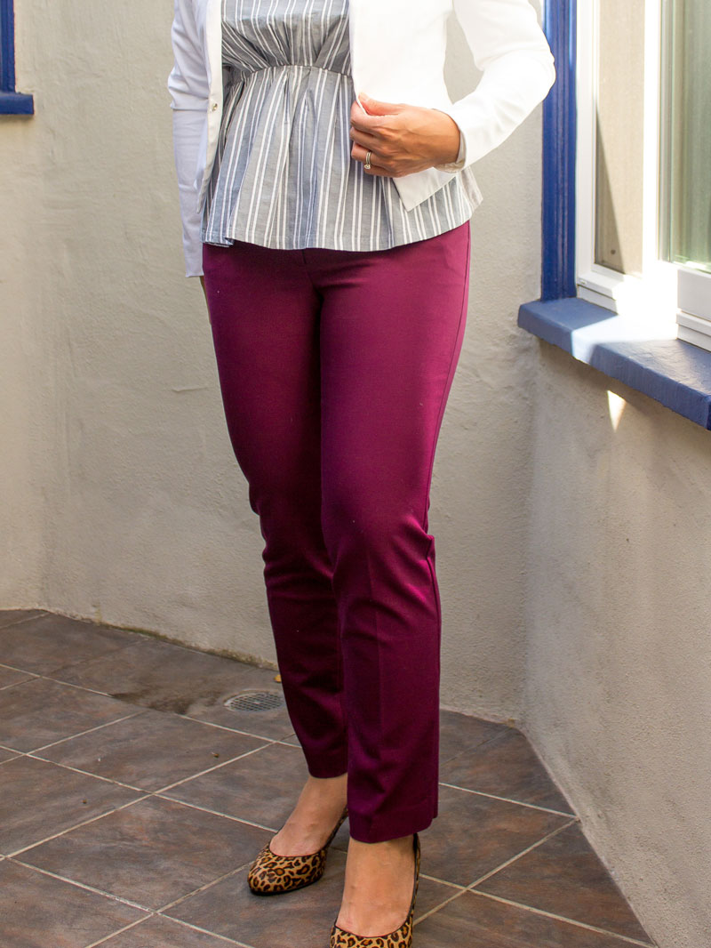 Blue stripe peplum | white blazer | burgundy ankle pants | leopard heels | www.shoppingmycloset.com    @jcrew #jcrew @elietahari #elietahari @loft #loft @bananarepublic #bananarepublic