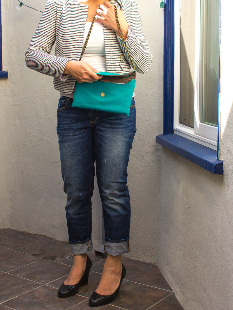 Tweed jacket | white camisole | teal foldover clutch | boyfriend jeans | wedge heels | www.shoppingmycloset.com    @loft #loft @expresslife #expresslife @jcrew #jcrew @gap #gap @colehaan #colehaan