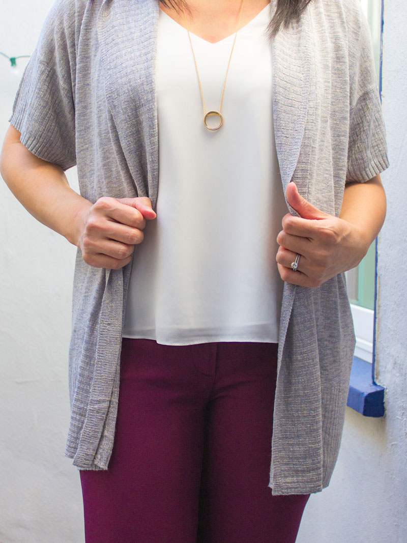Grey short sleeve cardigan | white camisole | gold pendant necklace | burgundy ankle pants | black d'orsay flats | www.shoppingmycloset.com    @joie #joie @topshop #topshop @loft #loft @colehaan #colehaan