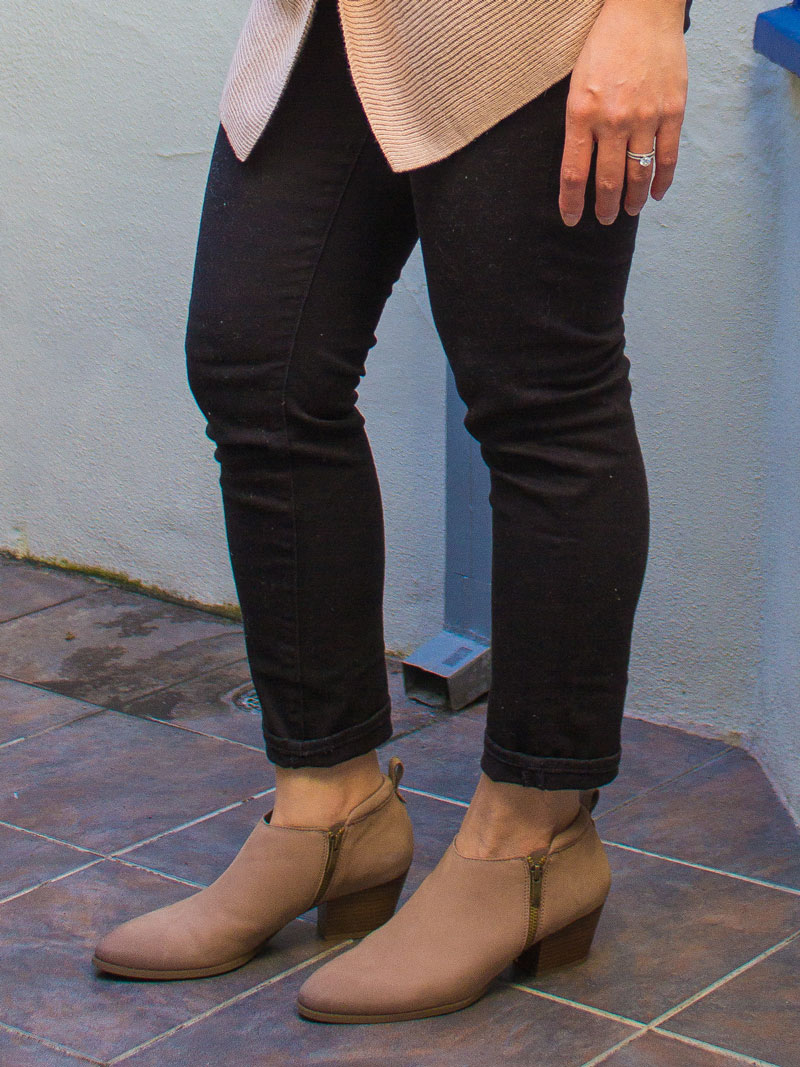 Draped sleeveless vest | striped tee | black skinny jeans | ankle booties | www.shoppingmycloset.com   @splendidla @jcrew @francosarto
