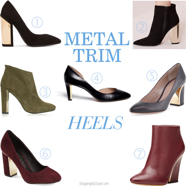 Gold plated / metal plated heels - see all the options @ www.shoppingmycloset.com
