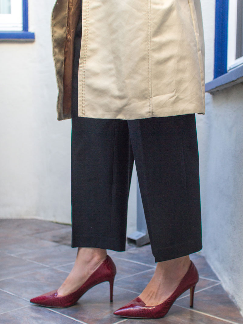 Trench coat | ivory silk blouse | black wide leg pants | red heels | www.shoppingmycloset.com   @hm #hm @jcrew #jcrew @nordstrom #nordstrom @vincecamuto #vincecamuto