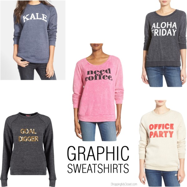 Graphic sweatshirts | see all the picks at www.shoppingmycloset.com
