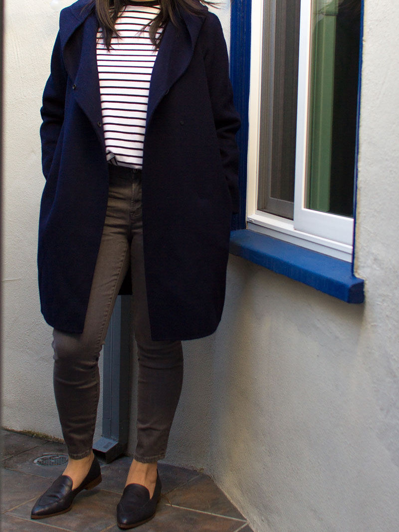 Black and white stripe top | Navy blue hooded coat | grey skinny jeans | black leather loafers | www.shoppingmycloset.com      @vince #vince @heidimerrick #heidimerrick @jcrew #jcrew