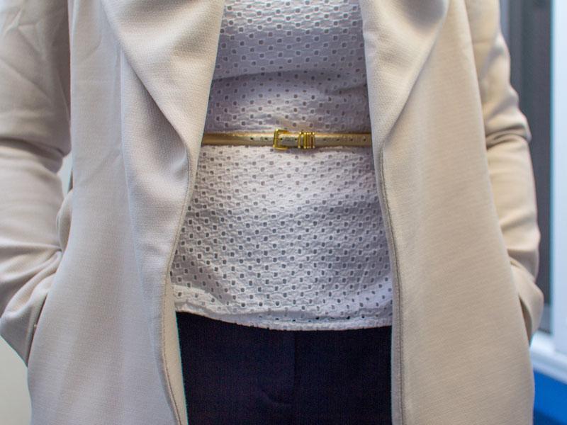 Large lapel coat | white peplum top | gold skinny belt | tuxedo stripe pant | nude heel | www.shoppingmycloset.com      @forever21 #forever21 @jcrew #jcrew @anntaylor #anntaylor @colehaan #colehaan @gap #gap