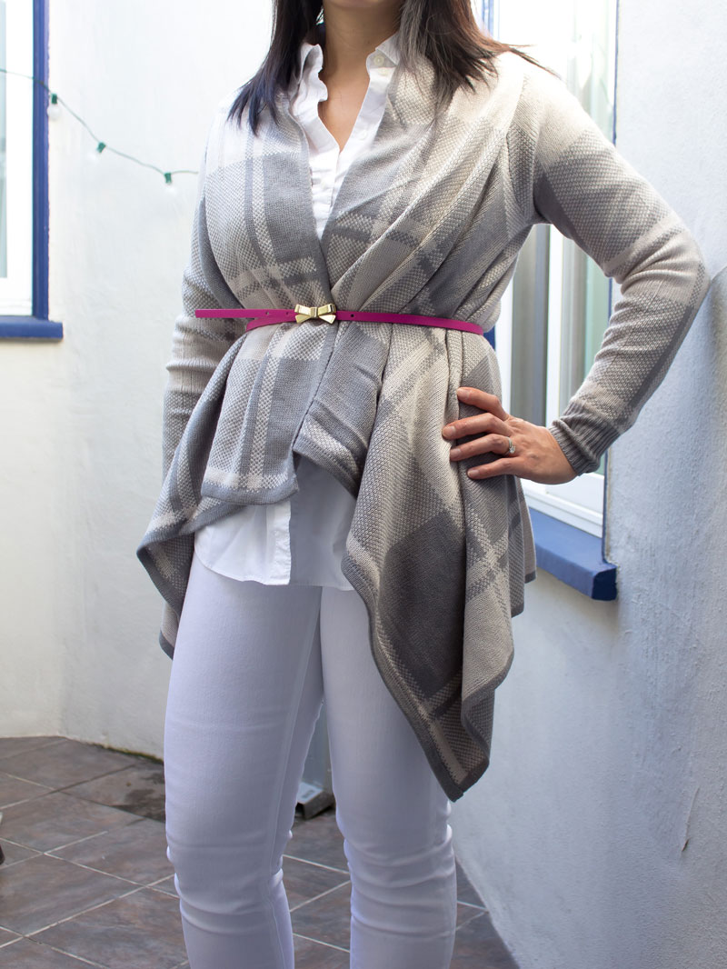 Gingham open drape cardigan | button down shirt | pink bow belt | white jeans | black d'orsday flats | www.shoppingmycloset.com